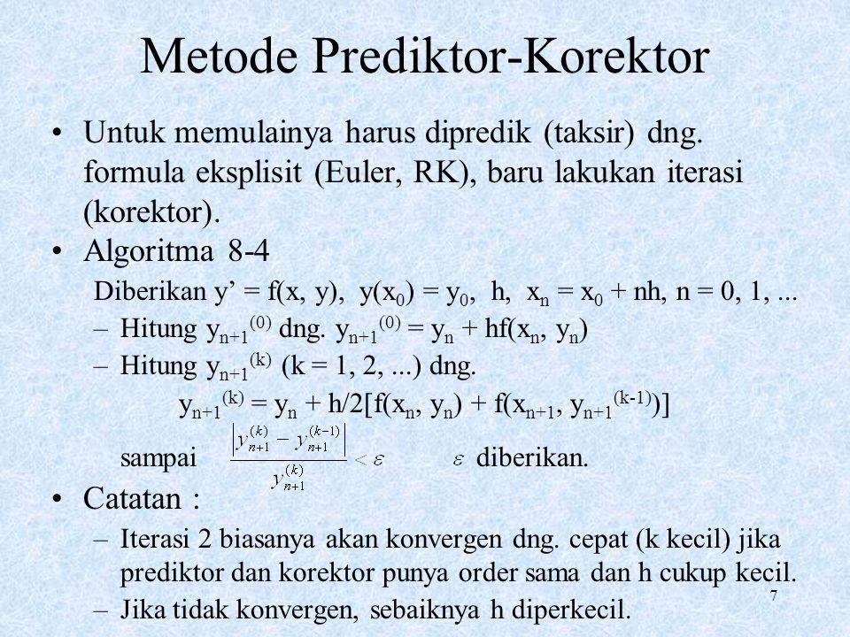 7 Metode Prediktor-Korektor Untuk memulainya harus dipredik (taksir) dng. formula eksplisit (Euler, RK), baru lakukan iterasi (korektor). Algoritma 8-