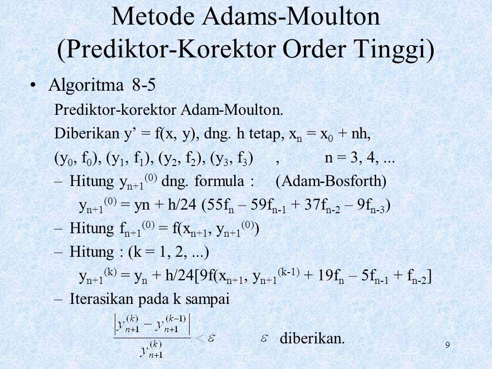 9 Metode Adams-Moulton (Prediktor-Korektor Order Tinggi) Algoritma 8-5 Prediktor-korektor Adam-Moulton. Diberikan y' = f(x, y), dng. h tetap, x n = x