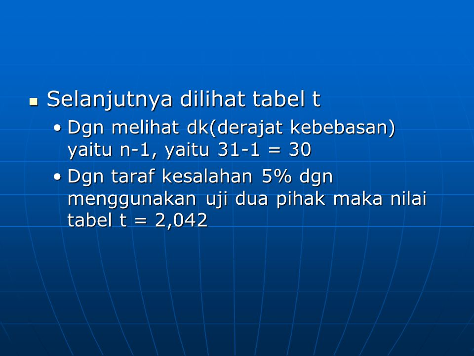 Selanjutnya dilihat tabel t Selanjutnya dilihat tabel t Dgn melihat dk(derajat kebebasan) yaitu n-1, yaitu 31-1 = 30Dgn melihat dk(derajat kebebasan) yaitu n-1, yaitu 31-1 = 30 Dgn taraf kesalahan 5% dgn menggunakan uji dua pihak maka nilai tabel t = 2,042Dgn taraf kesalahan 5% dgn menggunakan uji dua pihak maka nilai tabel t = 2,042