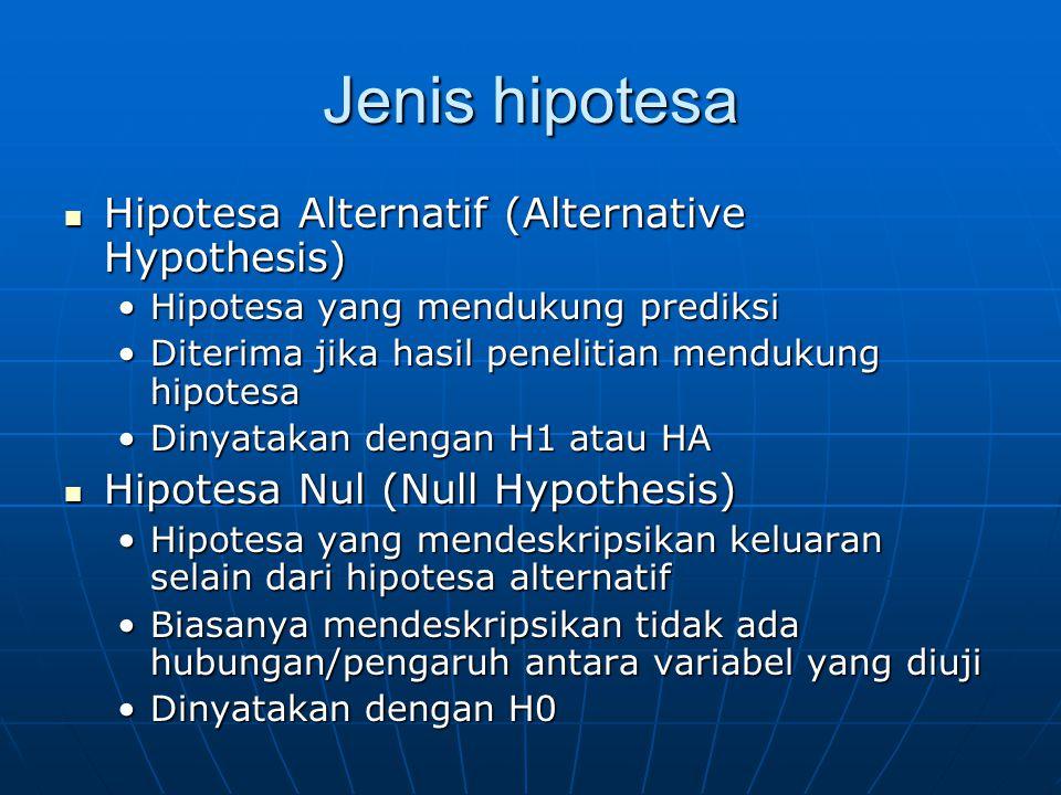 Jenis hipotesa Hipotesa Alternatif (Alternative Hypothesis) Hipotesa Alternatif (Alternative Hypothesis) Hipotesa yang mendukung prediksiHipotesa yang