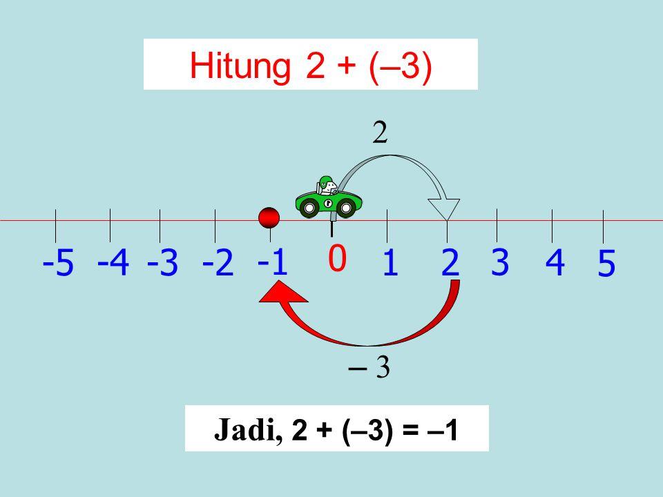 1 0 2 -2 3 -34 -4 5 -5 Hitung 2 + 3 3 Jadi, 2 + 3 = 5 2