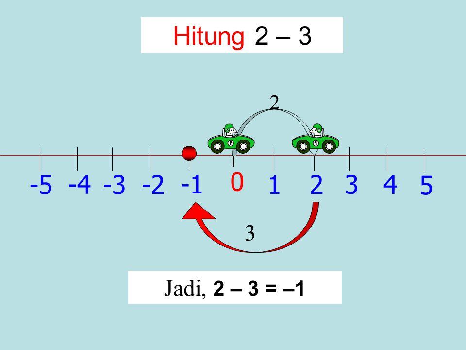 1 0 2 -2 3 -34 -4 5 -5 Hitung – 2 + (– 3) – 3 Jadi, – 2 + (– 3) = – 5 -2