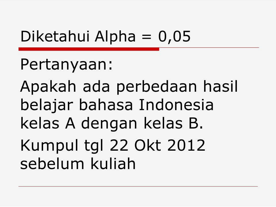 Diketahui Alpha = 0,05 Pertanyaan: Apakah ada perbedaan hasil belajar bahasa Indonesia kelas A dengan kelas B. Kumpul tgl 22 Okt 2012 sebelum kuliah