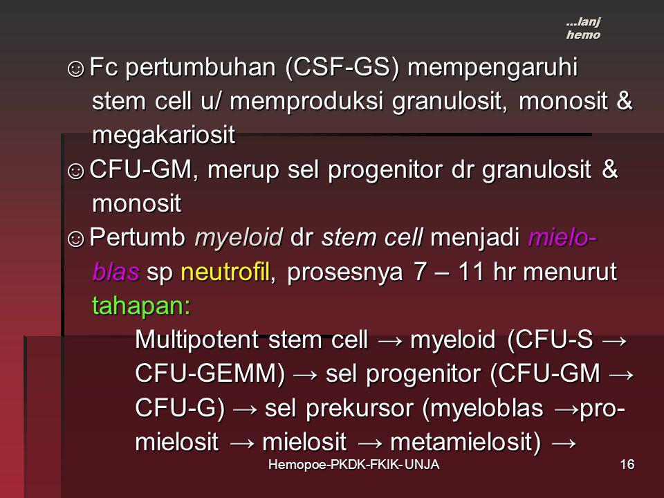 Hemopoe-PKDK-FKIK- UNJA ☺Fc pertumbuhan (CSF-GS) mempengaruhi ☺Fc pertumbuhan (CSF-GS) mempengaruhi stem cell u/ memproduksi granulosit, monosit & stem cell u/ memproduksi granulosit, monosit & megakariosit megakariosit ☺CFU-GM, merup sel progenitor dr granulosit & ☺CFU-GM, merup sel progenitor dr granulosit & monosit monosit ☺Pertumb myeloid dr stem cell menjadi mielo- ☺Pertumb myeloid dr stem cell menjadi mielo- blas sp neutrofil, prosesnya 7 – 11 hr menurut blas sp neutrofil, prosesnya 7 – 11 hr menurut tahapan: tahapan: Multipotent stem cell → myeloid (CFU-S → Multipotent stem cell → myeloid (CFU-S → CFU-GEMM) → sel progenitor (CFU-GM → CFU-GEMM) → sel progenitor (CFU-GM → CFU-G) → sel prekursor (myeloblas →pro- CFU-G) → sel prekursor (myeloblas →pro- mielosit → mielosit → metamielosit) → mielosit → mielosit → metamielosit) → …lanj hemo 16