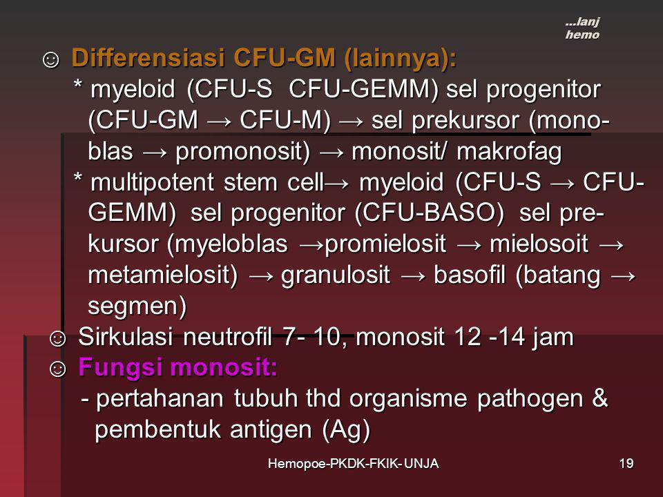 Hemopoe-PKDK-FKIK- UNJA ☺ Differensiasi CFU-GM (lainnya): ☺ Differensiasi CFU-GM (lainnya): * myeloid (CFU-S CFU-GEMM) sel progenitor * myeloid (CFU-S CFU-GEMM) sel progenitor (CFU-GM → CFU-M) → sel prekursor (mono- (CFU-GM → CFU-M) → sel prekursor (mono- blas → promonosit) → monosit/ makrofag blas → promonosit) → monosit/ makrofag * multipotent stem cell→ myeloid (CFU-S → CFU- * multipotent stem cell→ myeloid (CFU-S → CFU- GEMM) sel progenitor (CFU-BASO) sel pre- GEMM) sel progenitor (CFU-BASO) sel pre- kursor (myeloblas →promielosit → mielosoit → kursor (myeloblas →promielosit → mielosoit → metamielosit) → granulosit → basofil (batang → metamielosit) → granulosit → basofil (batang → segmen) segmen) ☺ Sirkulasi neutrofil 7- 10, monosit 12 -14 jam ☺ Sirkulasi neutrofil 7- 10, monosit 12 -14 jam ☺ Fungsi monosit: ☺ Fungsi monosit: - pertahanan tubuh thd organisme pathogen & - pertahanan tubuh thd organisme pathogen & pembentuk antigen (Ag) pembentuk antigen (Ag) …lanj hemo 19