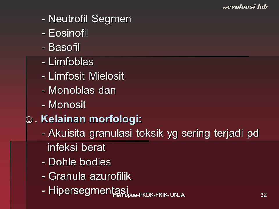 Hemopoe-PKDK-FKIK- UNJA..evaluasi lab - Neutrofil Segmen - Neutrofil Segmen - Eosinofil - Eosinofil - Basofil - Basofil - Limfoblas - Limfoblas - Limfosit Mielosit - Limfosit Mielosit - Monoblas dan - Monoblas dan - Monosit - Monosit ☺.
