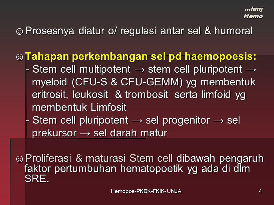 Hemopoe-PKDK-FKIK- UNJA …lanj Hemo ☺Prosesnya diatur o/ regulasi antar sel & humoral ☺Tahapan perkembangan sel pd haemopoesis: - Stem cell multipotent → stem cell pluripotent → - Stem cell multipotent → stem cell pluripotent → myeloid (CFU-S & CFU-GEMM) yg membentuk myeloid (CFU-S & CFU-GEMM) yg membentuk eritrosit, leukosit & trombosit serta limfoid yg eritrosit, leukosit & trombosit serta limfoid yg membentuk Limfosit membentuk Limfosit - Stem cell pluripotent → sel progenitor → sel - Stem cell pluripotent → sel progenitor → sel prekursor → sel darah matur prekursor → sel darah matur ☺Proliferasi & maturasi Stem cell dibawah pengaruh faktor pertumbuhan hematopoetik yg ada di dlm SRE.