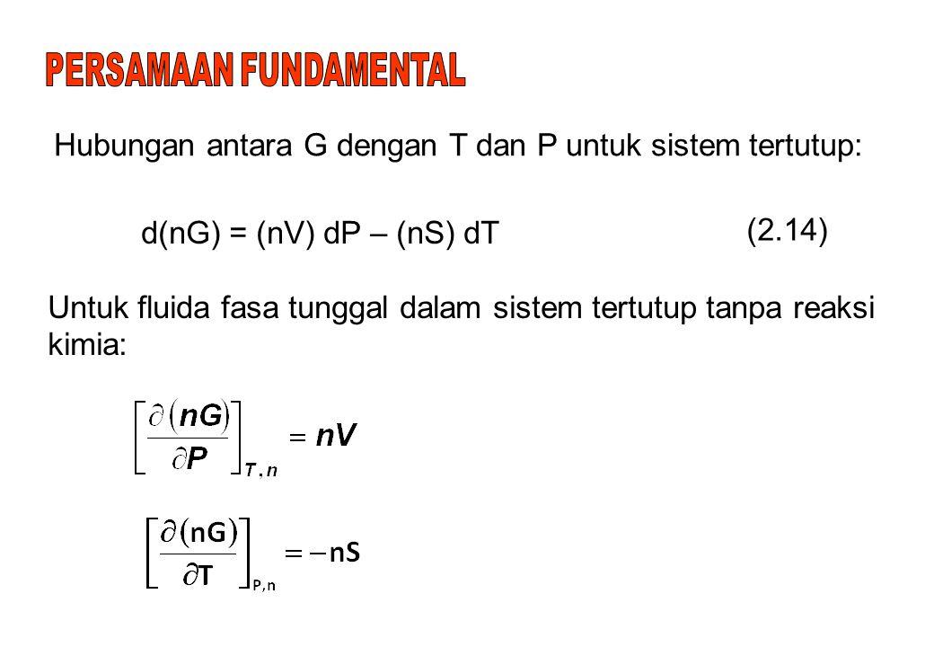 Hubungan antara G dengan T dan P untuk sistem tertutup: d(nG) = (nV) dP – (nS) dT (2.14) Untuk fluida fasa tunggal dalam sistem tertutup tanpa reaksi