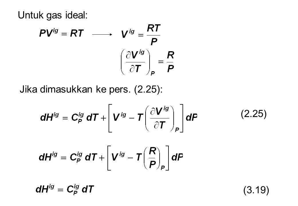 Untuk gas ideal: Jika dimasukkan ke pers. (2.25): (2.25) (3.19)