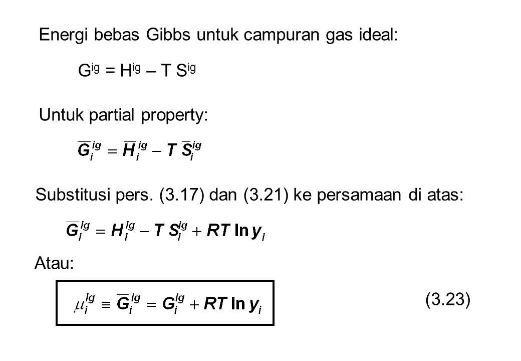 Energi bebas Gibbs untuk campuran gas ideal: G ig = H ig – T S ig Untuk partial property: Substitusi pers. (3.17) dan (3.21) ke persamaan di atas: Ata