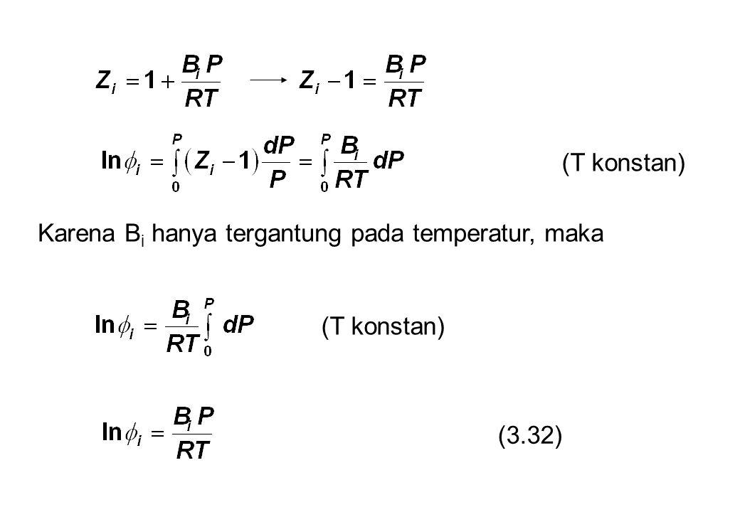 (T konstan) Karena B i hanya tergantung pada temperatur, maka (T konstan) (3.32)