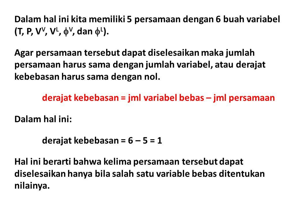 Dalam hal ini kita memiliki 5 persamaan dengan 6 buah variabel (T, P, V V, V L,  V, dan  L ). Agar persamaan tersebut dapat diselesaikan maka jumlah