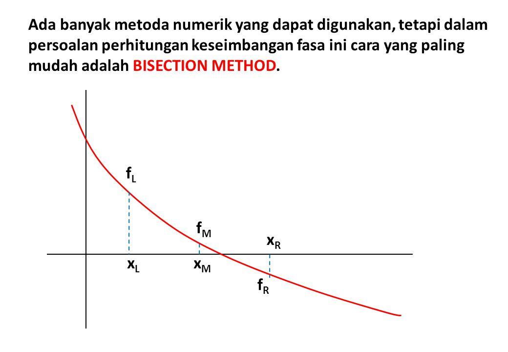 xLxL xMxM xRxR fLfL fMfM fRfR Ada banyak metoda numerik yang dapat digunakan, tetapi dalam persoalan perhitungan keseimbangan fasa ini cara yang palin