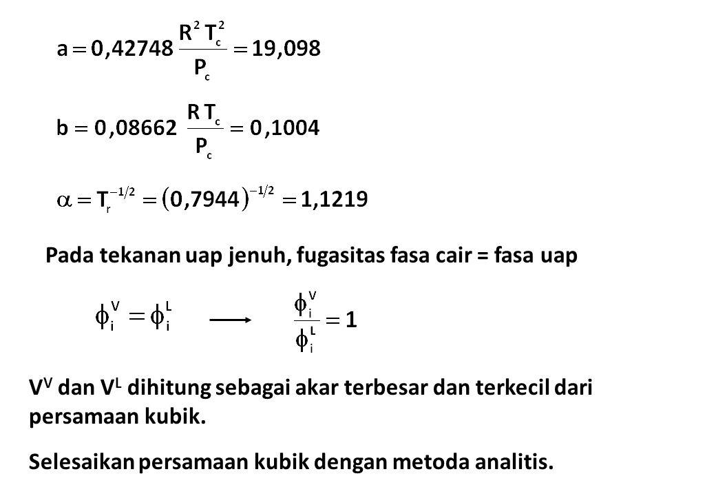 Pada tekanan uap jenuh, fugasitas fasa cair = fasa uap V V dan V L dihitung sebagai akar terbesar dan terkecil dari persamaan kubik. Selesaikan persam