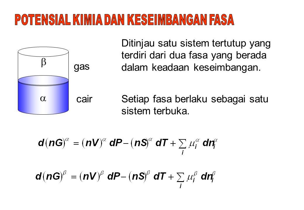 Selanjutnya akan diperoleh persamaan GIBBS/DUHEM: (3.13) Untuk proses yang berlangsung pada T dan P konstan: (3.14)