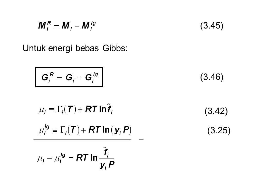 (3.45) Untuk energi bebas Gibbs: (3.46) (3.42) (3.25) 