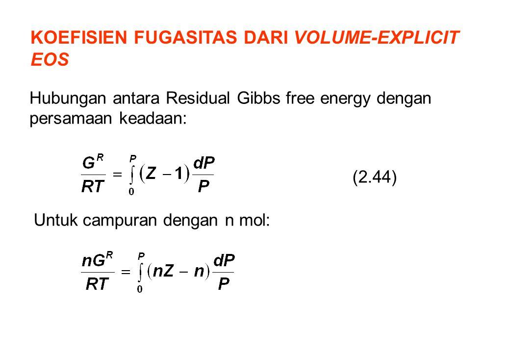 KOEFISIEN FUGASITAS DARI VOLUME-EXPLICIT EOS Hubungan antara Residual Gibbs free energy dengan persamaan keadaan: (2.44) Untuk campuran dengan n mol: