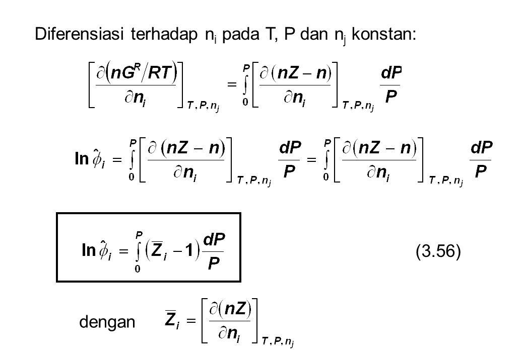 Diferensiasi terhadap n i pada T, P dan n j konstan: (3.56) dengan