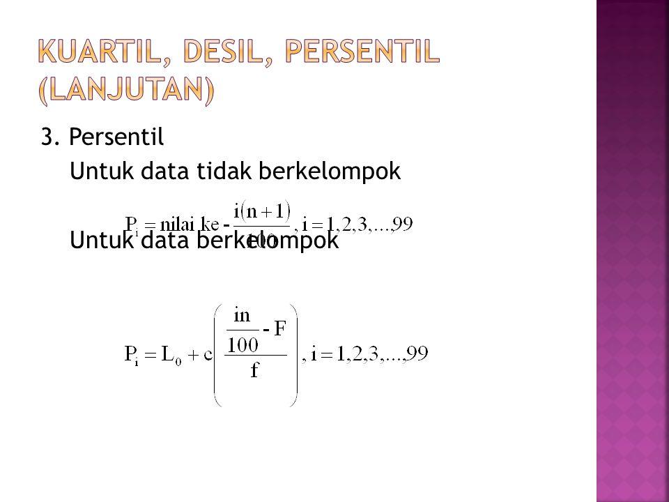 3. Persentil Untuk data tidak berkelompok Untuk data berkelompok
