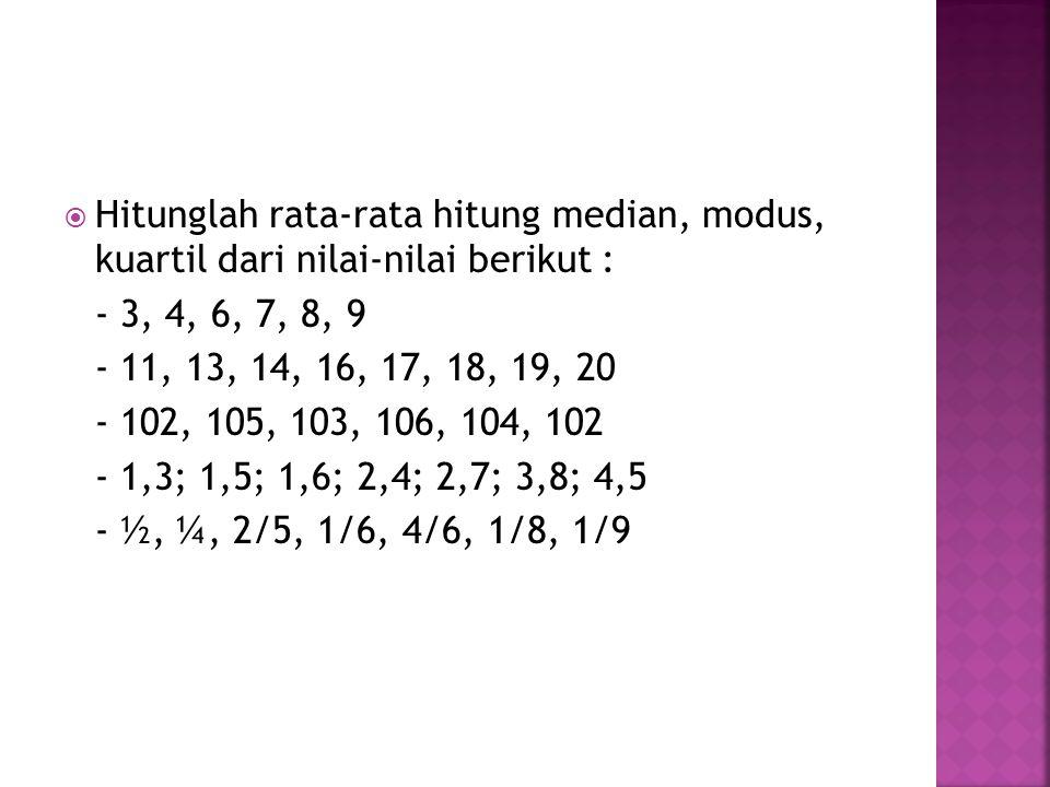  Hitunglah rata-rata hitung median, modus, kuartil dari nilai-nilai berikut : - 3, 4, 6, 7, 8, 9 - 11, 13, 14, 16, 17, 18, 19, 20 - 102, 105, 103, 10