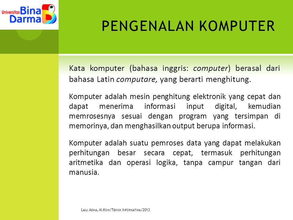 PENGENALAN KOMPUTER Kata komputer (bahasa inggris: computer) berasal dari bahasa Latin computare, yang berarti menghitung. Komputer adalah mesin pengh