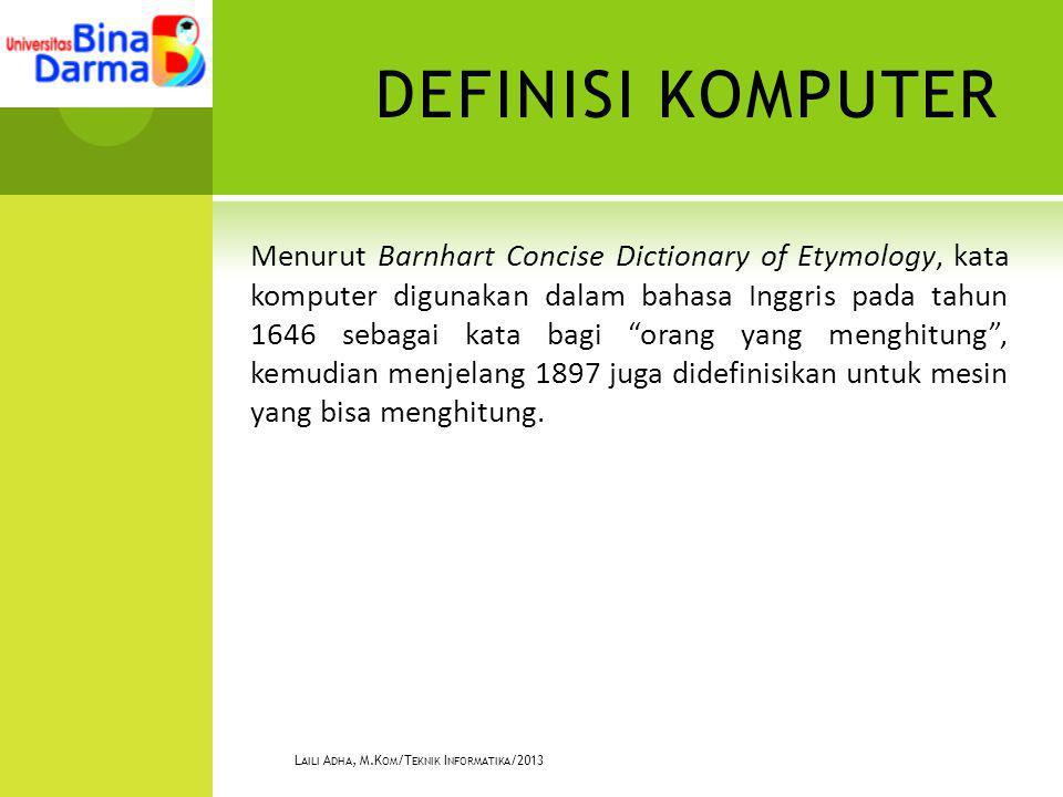 """DEFINISI KOMPUTER Menurut Barnhart Concise Dictionary of Etymology, kata komputer digunakan dalam bahasa Inggris pada tahun 1646 sebagai kata bagi """"or"""