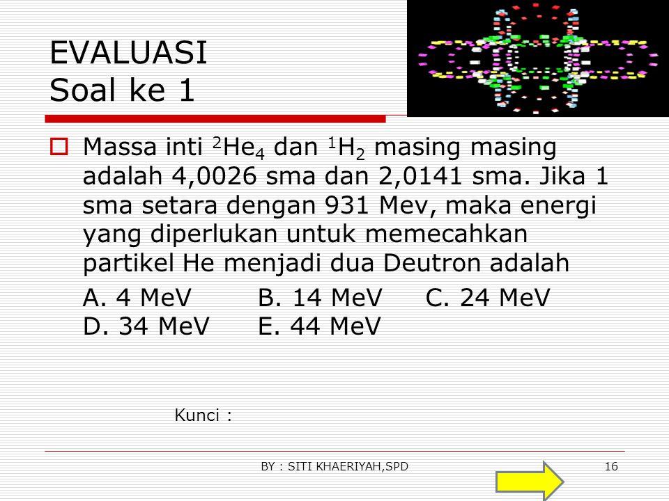 Contoh soal Massa atom 16 O 8 Adalah 15,995 sma, hidrogen 1,0078 sma dan neutron 1,0087 sma a.Hitung massa total partikel pembentuk inti atom b.Hitung