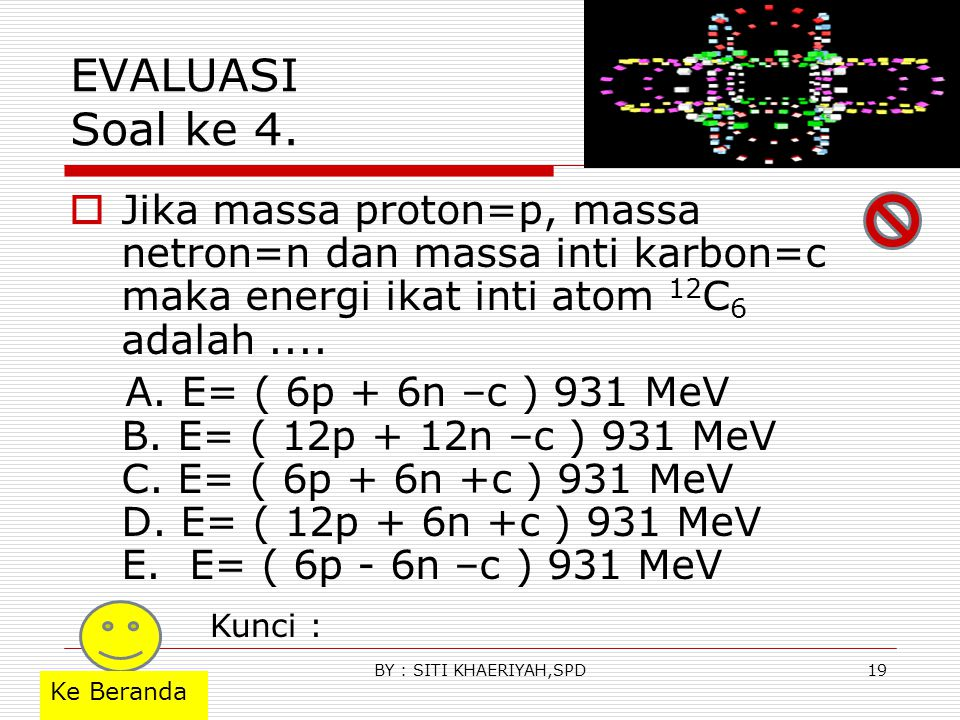 EVALUASI Soal ke 3.  Apabila massa detron = 2.009 sma ; tritron=3.016 sma; Helium= 4.003 sma;neutron=1.009 sma dan 1 sma = 931 MeV, maka energi yang