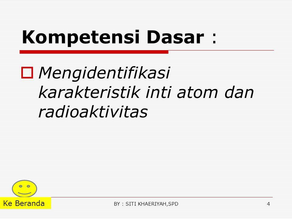 Kompetensi Dasar :  Mengidentifikasi karakteristik inti atom dan radioaktivitas 4BY : SITI KHAERIYAH,SPD Ke Beranda