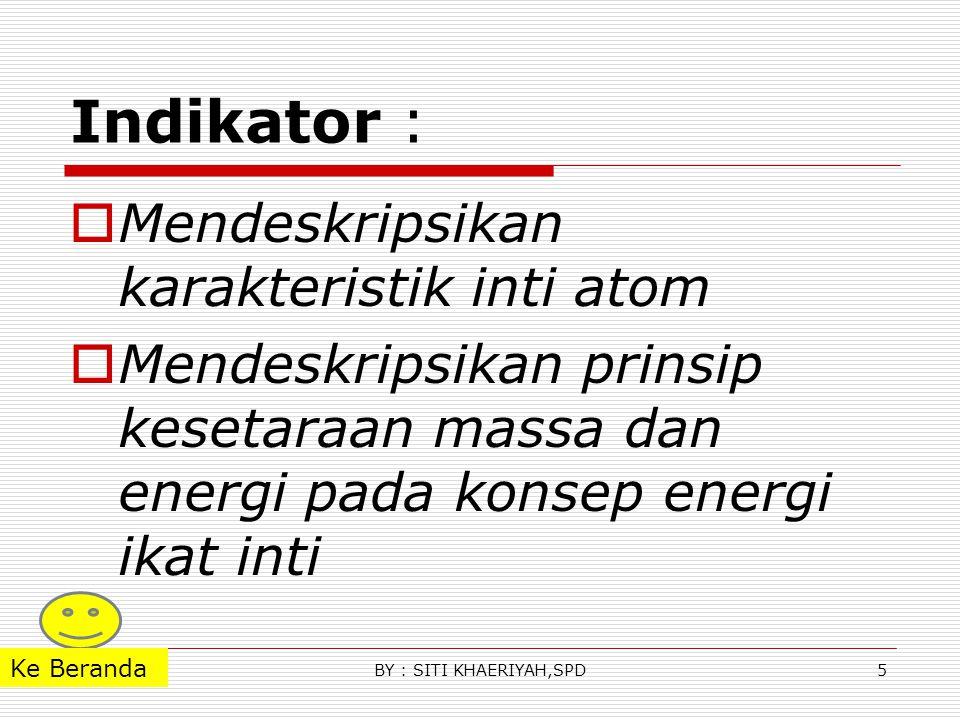 Contoh soal Massa atom 16 O 8 Adalah 15,995 sma, hidrogen 1,0078 sma dan neutron 1,0087 sma a.Hitung massa total partikel pembentuk inti atom b.Hitung defek massa ketika partikel- partikel tsb bersatu membentuk sebuah atom oksigen c.Hitung energi ikat inti oksigen kunci a.