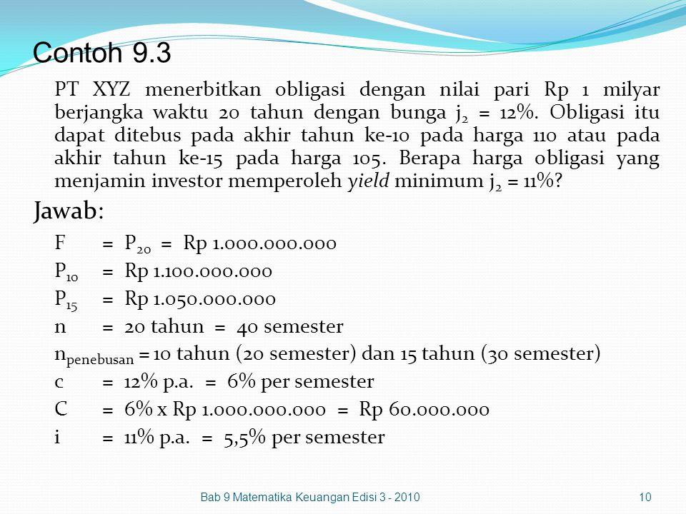 Contoh 9.3 PT XYZ menerbitkan obligasi dengan nilai pari Rp 1 milyar berjangka waktu 20 tahun dengan bunga j 2 = 12%. Obligasi itu dapat ditebus pada