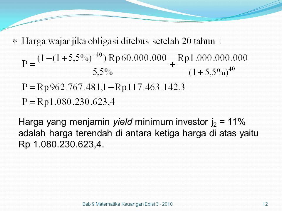 Bab 9 Matematika Keuangan Edisi 3 - 201012 Harga yang menjamin yield minimum investor j 2 = 11% adalah harga terendah di antara ketiga harga di atas y