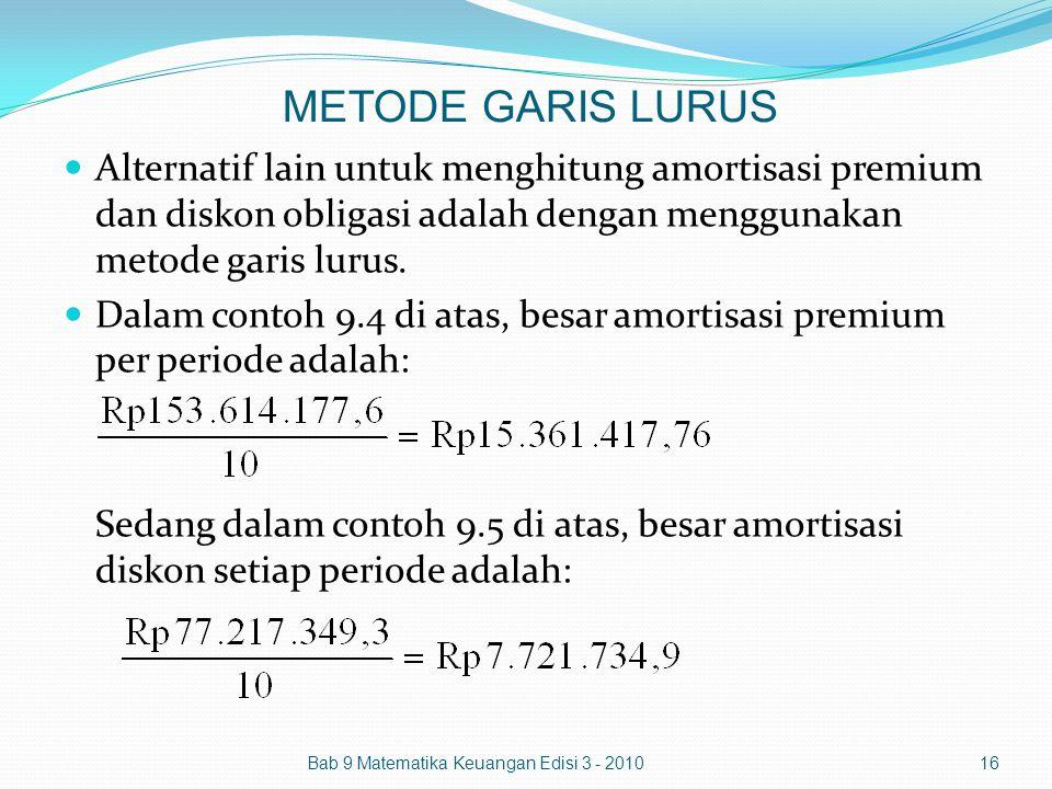 METODE GARIS LURUS Alternatif lain untuk menghitung amortisasi premium dan diskon obligasi adalah dengan menggunakan metode garis lurus. Dalam contoh