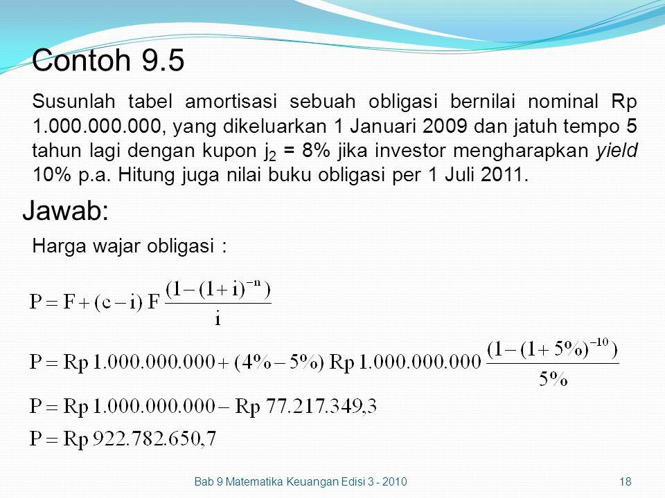 Contoh 9.5 Bab 9 Matematika Keuangan Edisi 3 - 201018 Susunlah tabel amortisasi sebuah obligasi bernilai nominal Rp 1.000.000.000, yang dikeluarkan 1