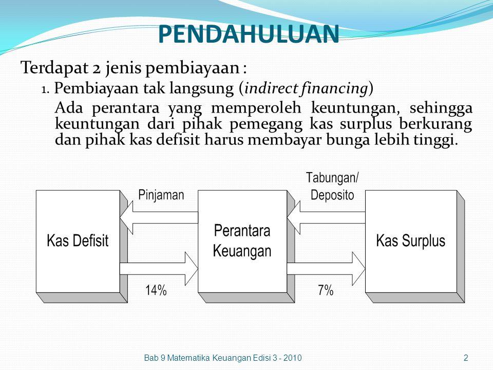 PENDAHULUAN Bab 9 Matematika Keuangan Edisi 3 - 20102 Terdapat 2 jenis pembiayaan : 1. Pembiayaan tak langsung (indirect financing) Ada perantara yang