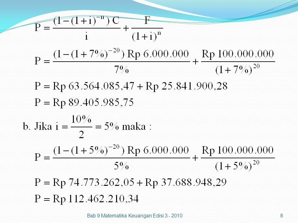 Bab 9 Matematika Keuangan Edisi 3 - 201019 Tabel amortisasi diskon obligasi (metode bunga efektif)