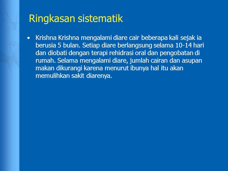 Ringkasan sistematik Krishna Krishna mengalami diare cair beberapa kali sejak ia berusia 5 bulan. Setiap diare berlangsung selama 10-14 hari dan dioba
