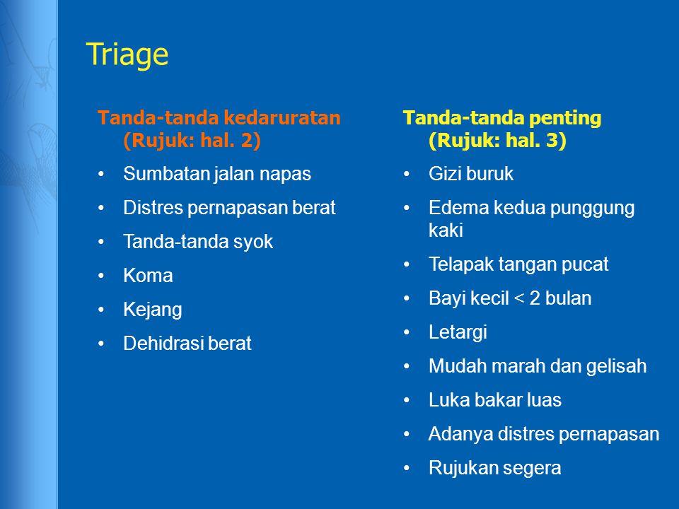 Triage Tanda-tanda kedaruratan (Rujuk: hal. 2) Sumbatan jalan napas Distres pernapasan berat Tanda-tanda syok Koma Kejang Dehidrasi berat Tanda-tanda