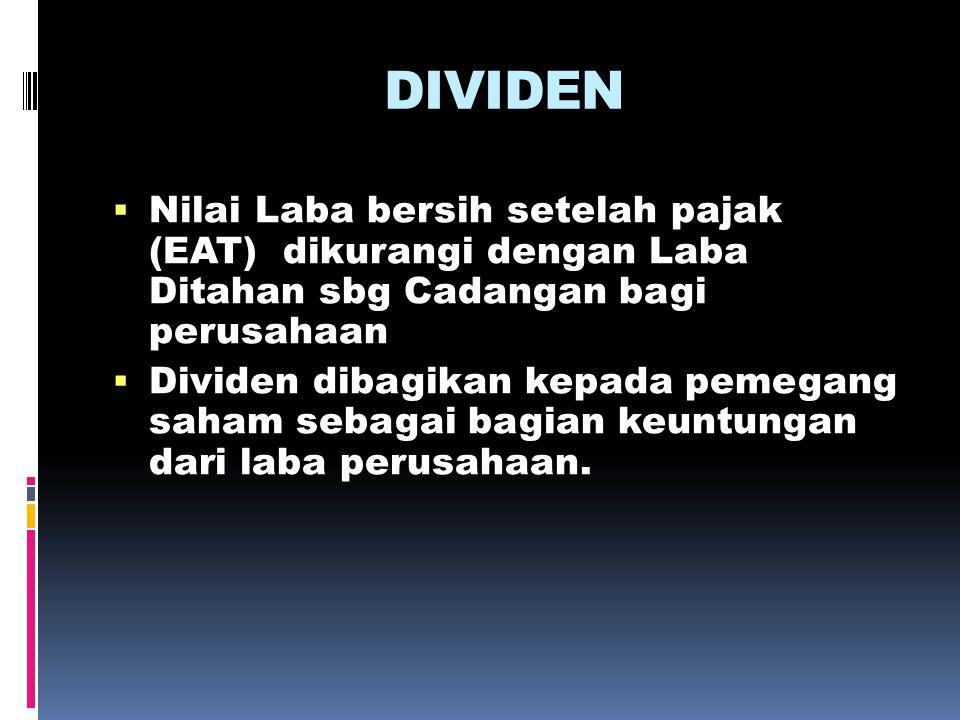 DIVIDEN  Nilai Laba bersih setelah pajak (EAT) dikurangi dengan Laba Ditahan sbg Cadangan bagi perusahaan  Dividen dibagikan kepada pemegang saham s