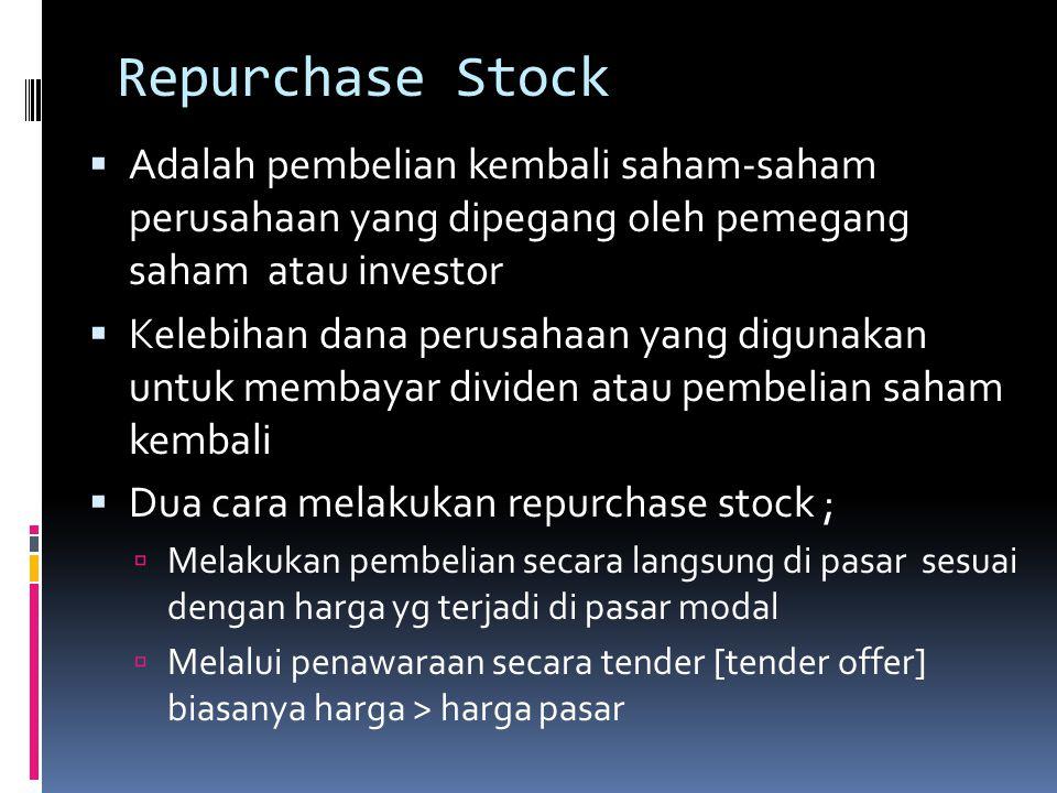 Repurchase Stock  Adalah pembelian kembali saham-saham perusahaan yang dipegang oleh pemegang saham atau investor  Kelebihan dana perusahaan yang di