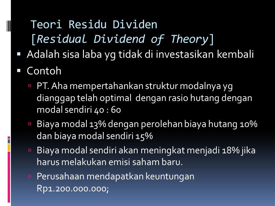 Teori Residu Dividen [Residual Dividend of Theory]  Adalah sisa laba yg tidak di investasikan kembali  Contoh  PT. Aha mempertahankan struktur moda
