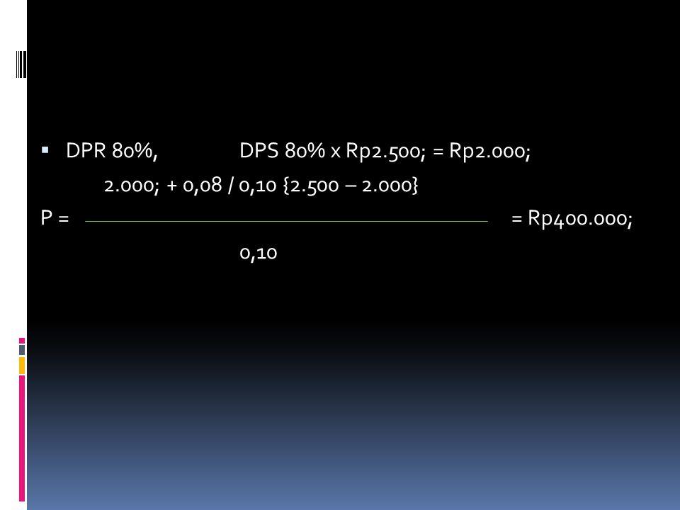  DPR 80%,DPS 80% x Rp2.500; = Rp2.000; 2.000; + 0,08 / 0,10 {2.500 – 2.000} P == Rp400.000; 0,10