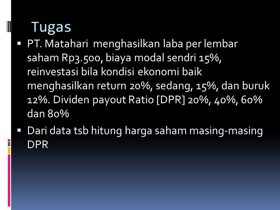 Tugas  PT. Matahari menghasilkan laba per lembar saham Rp3.500, biaya modal sendri 15%, reinvestasi bila kondisi ekonomi baik menghasilkan return 20%