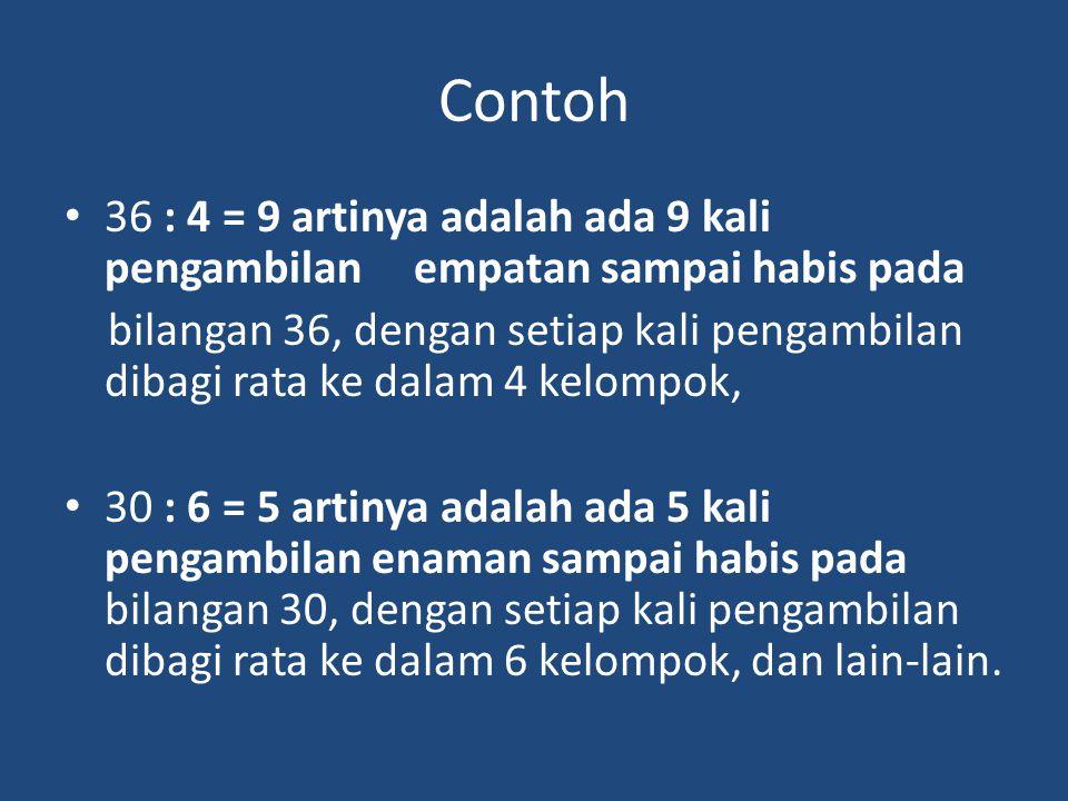 Contoh 36 : 4 = 9 artinya adalah ada 9 kali pengambilan empatan sampai habis pada bilangan 36, dengan setiap kali pengambilan dibagi rata ke dalam 4 k