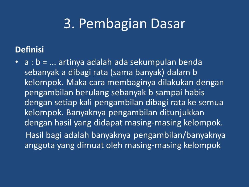 3. Pembagian Dasar Definisi a : b =... artinya adalah ada sekumpulan benda sebanyak a dibagi rata (sama banyak) dalam b kelompok. Maka cara membaginya