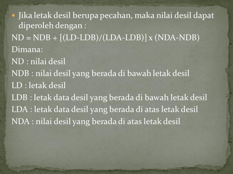 Jika letak desil berupa pecahan, maka nilai desil dapat diperoleh dengan : ND = NDB + [(LD-LDB)/(LDA-LDB)] x (NDA-NDB) Dimana: ND : nilai desil NDB : nilai desil yang berada di bawah letak desil LD : letak desil LDB : letak data desil yang berada di bawah letak desil LDA : letak data desil yang berada di atas letak desil NDA : nilai desil yang berada di atas letak desil