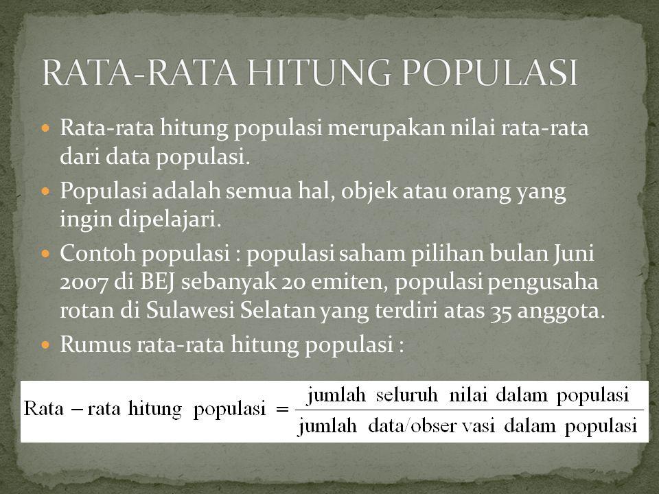 Rata-rata hitung populasi merupakan nilai rata-rata dari data populasi.