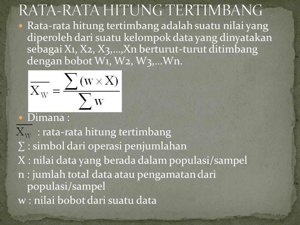 Rata-rata hitung tertimbang adalah suatu nilai yang diperoleh dari suatu kelompok data yang dinyatakan sebagai X1, X2, X3,…,Xn berturut-turut ditimbang dengan bobot W1, W2, W3,…Wn.