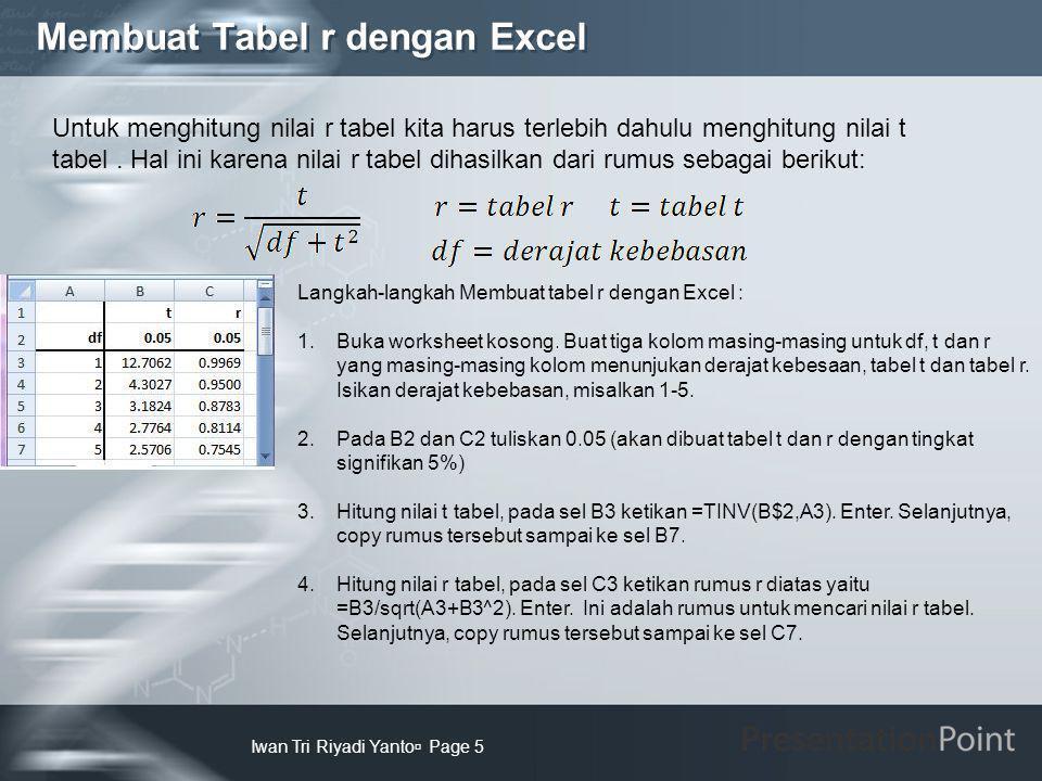 Membuat Tabel r dengan Excel Iwan Tri Riyadi Yanto  Page 5 Langkah-langkah Membuat tabel r dengan Excel : 1.Buka worksheet kosong. Buat tiga kolom ma