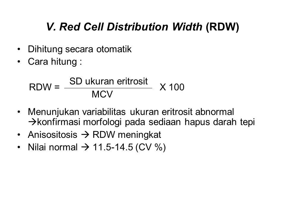 V. Red Cell Distribution Width (RDW) Dihitung secara otomatik Cara hitung : Menunjukan variabilitas ukuran eritrosit abnormal  konfirmasi morfologi p